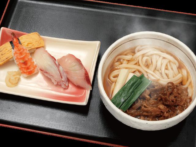 肉うどんと握り寿司4貫セット
