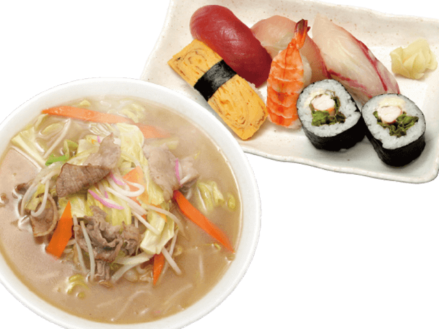 ちゃんぽんと握り寿司&レタス巻きセット